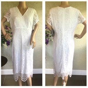 NWT Sharagano Optic White Lace Dress | Size: 10